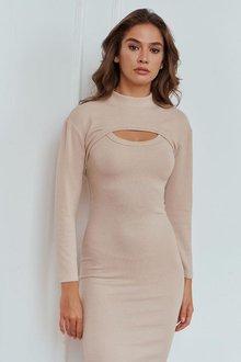 Трикотажное платье-двойка бежевого цвета Ростислава 51327
