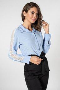 Голубая рубашка с гипюром на рукавах 21161
