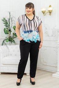 Костюм туника+брюки полосы-цветы голубой 018_267601