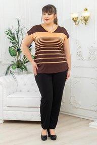 Костюм туника+брюки коричневая полоса 018_267557