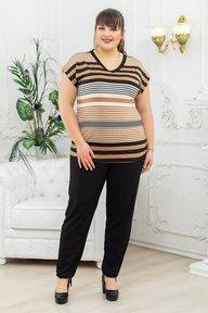 Костюм туника+брюки бежевая полоса 018_267525