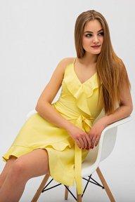 Желтое платье на запах с воланами Элиана 51162