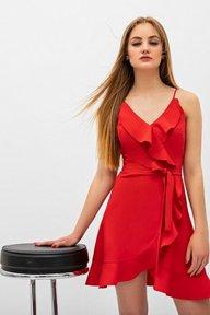 Красное платье на запах с воланами Эрмина 51165