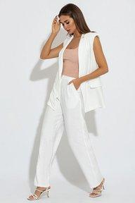 Летний брючный белый костюм с удлиненным жилетом Жиневьев 3081