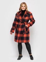 Женское пальто Кира охра клетка 130102