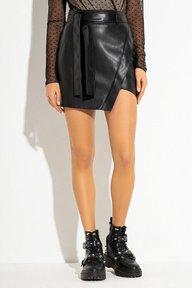 Черная кожаная мини юбка Люсия 6175