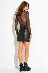 Черная кожаная мини юбка 6175