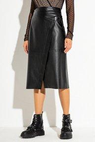 Черная кожаная юбка на запах длины миди Джема 6176