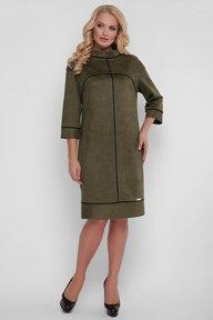 Платье Мишель экозамша оливка 121603