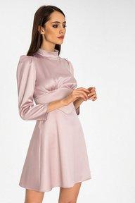 Атласное короткое платье пудрового цвета Мари 51254