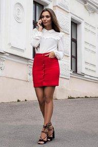 Красная коттоновая юбка трапеция 6178
