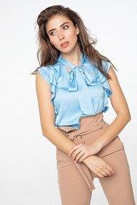 Голубая шелковая блуза с воротником аскот 21270