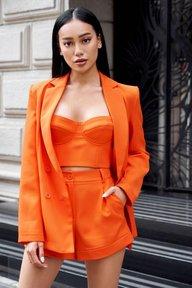 Оранжевый удлиненный жакет Рия 7089