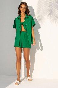Летний льняной зеленый костюм-тройка 3135