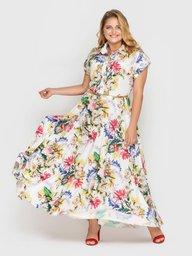Платье Алена гортензия белое 114316