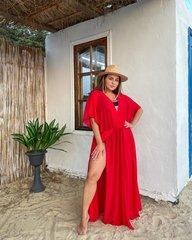 Пляжная длинная туника - платье красный 018_289588