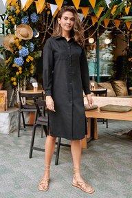 Платье-рубашка черного цвета длины миди Лидия 51297