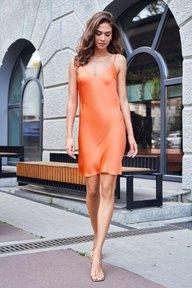 Шелковое платье-комбинация оранжевого цвета Анна 51308