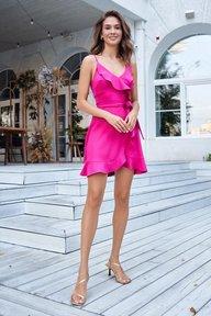 Платье на запах с воланами малинового цвета Виола 51298