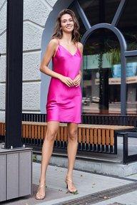 Шелковое платье-комбинация малинового цвета Марианн 51303