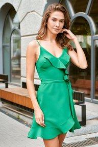 Платье на запах с воланами зеленого цвета Бесс 51300