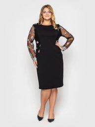 Нарядное платье Адель черное цветок пудра 108711