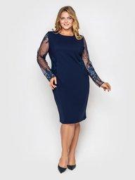 Нарядное платье Адель синее завитки 108712