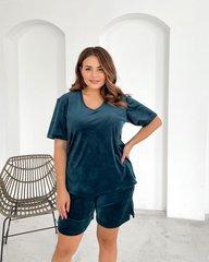 Пижама велюр футболка+шорты изумруд 018_290190