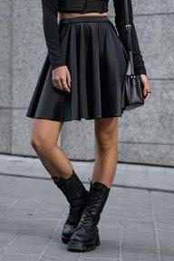 Атласная черная юбка в складку Дорофея 6185