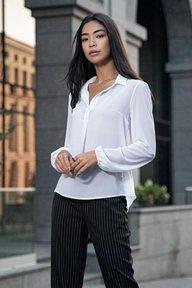 Белая шифоновая блуза с длинным рукавом Лили 21275