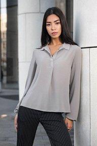 Серая шифоновая блуза с длинным рукавом Маргарет 21277