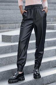 Черные кожаные брюки с манжетами Сандра 4257