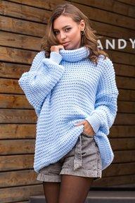 Теплый вязаный свитер-туника, фасон оверсайз, рукав с напуском спущенное плечо.